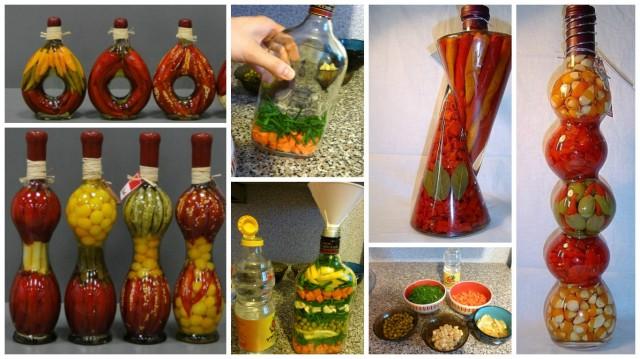 Красивые бутылочки с овощами и фруктами 0