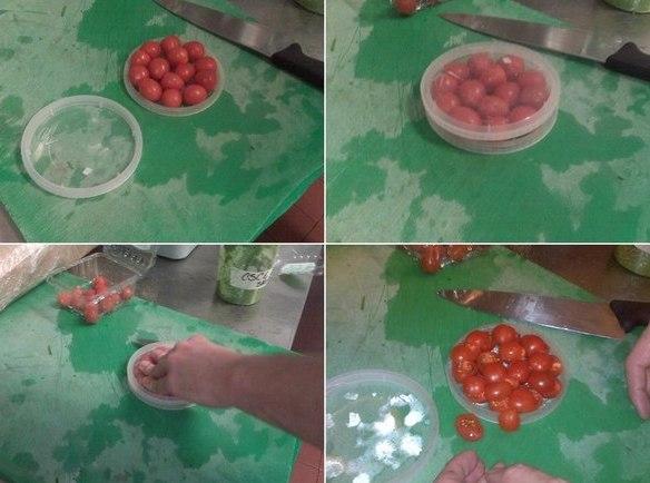 Как быстро разрезать пополам помидоры черри