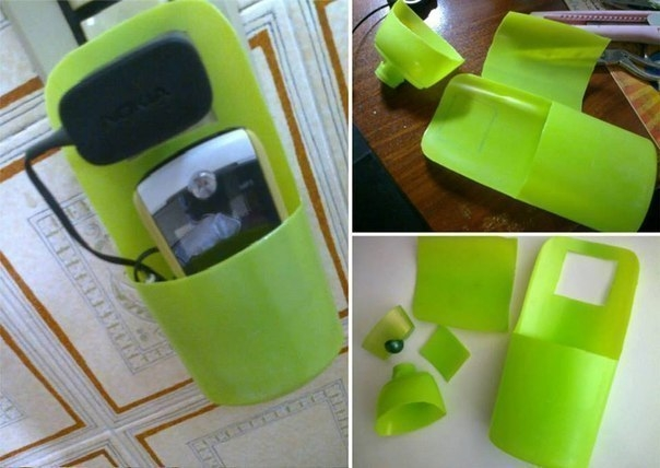 Удобный держатель для зарядки телефона из флакона от шампуня