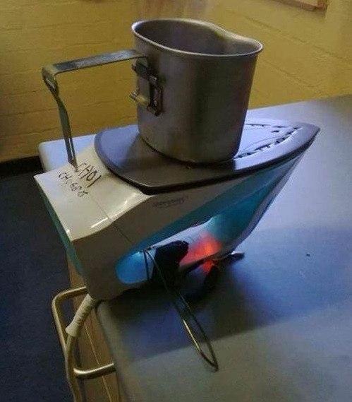 Разворот утюга на 180 градусов превращает его в электроплитку.