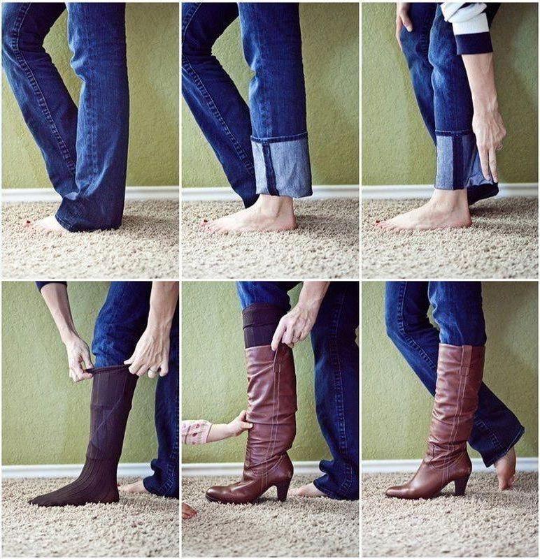 Не обтягивающие джинсы можно легко заправить в сапоги. Вот так!