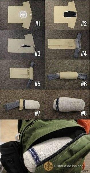 Как упаковать одежду, чтобы она занимала минимум места в багаже?