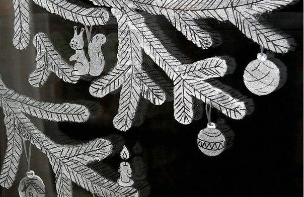 Рисунки на стекле. Праздничная идея
