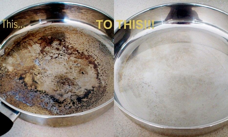 Чистящее средство для пригоревшей сковородки.
