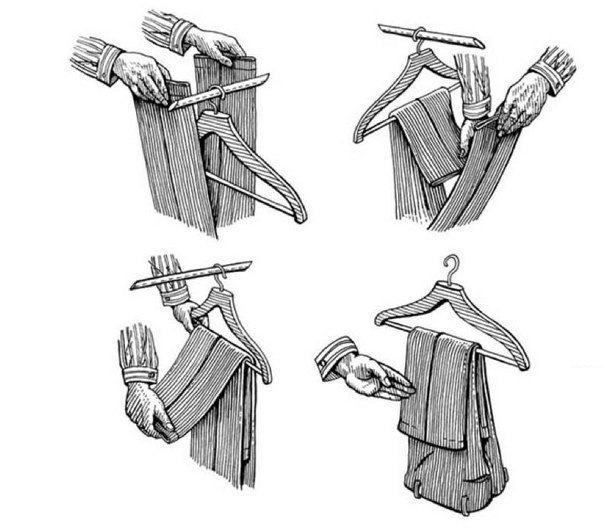 Как правильно вешать брюки, чтобы они не соскальзывали с вешалки