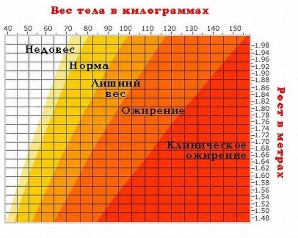 Полезная таблица соотношения роста и веса