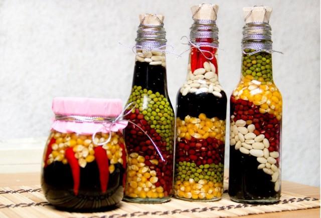 Красивые бутылочки с овощами и фруктами 2