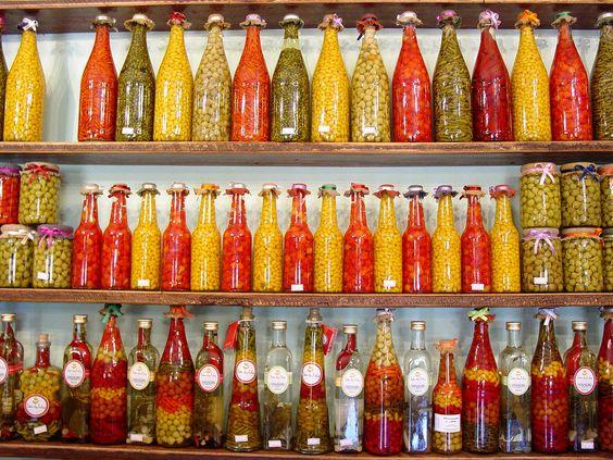 Красивые бутылочки с овощами и фруктами 1