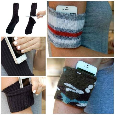 """Как сделать удобный """"карман"""" из старых носков? 0"""