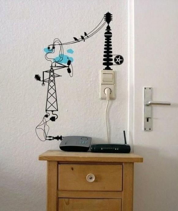 Оригинальные способы украшения стен электропроводами 4