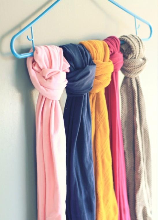 Самые разные способы хранения шарфов 5