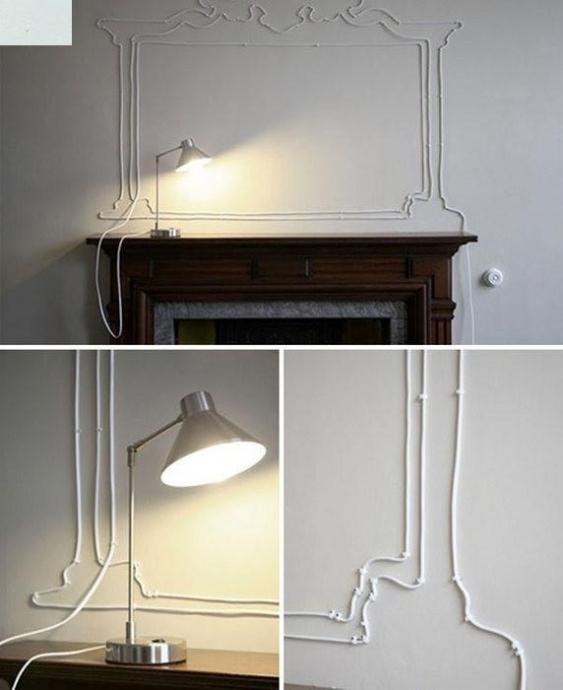 Оригинальные способы украшения стен электропроводами 2