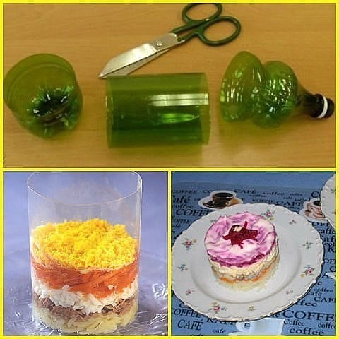 Простое решение красивой формы салата с помощью пластиковой бутылки 2