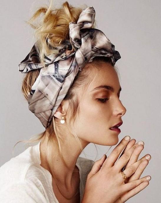 Как использовать платок на голове как стильный аксессуар 0