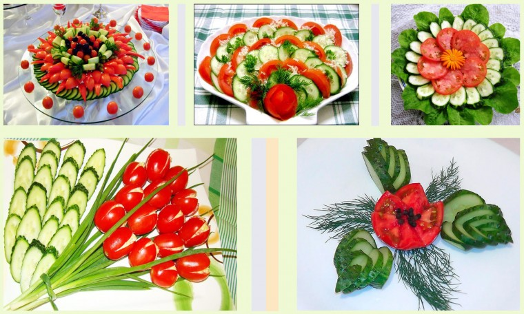 Много способов простого и красивого оформления овощной нарезки 9