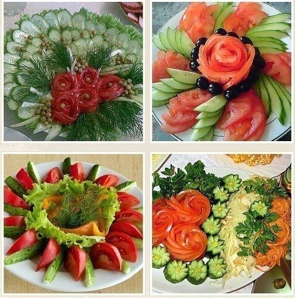 Много способов простого и красивого оформления овощной нарезки 8