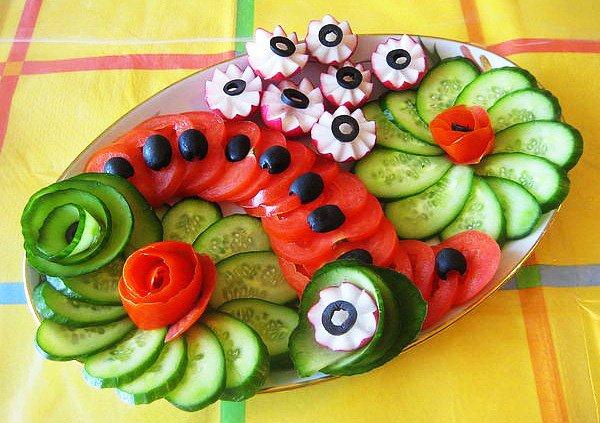 Много способов простого и красивого оформления овощной нарезки 1