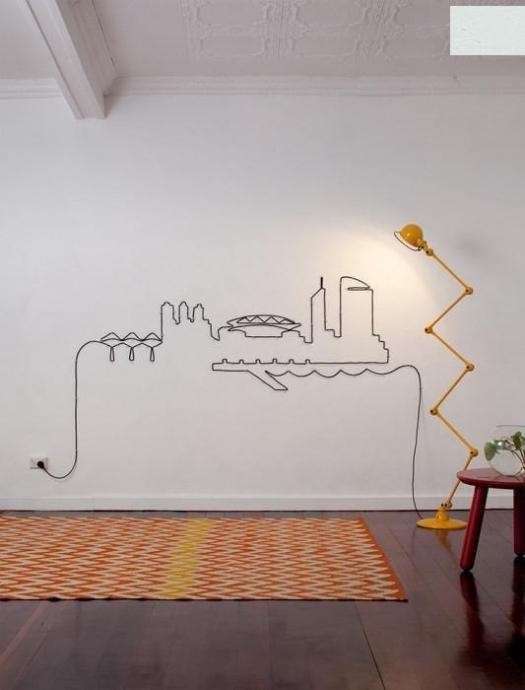 Оригинальные способы украшения стен электропроводами 0