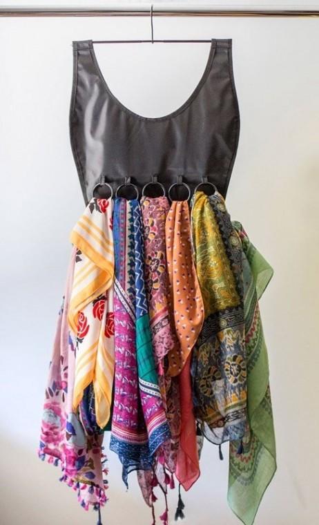Самые разные способы хранения шарфов 3