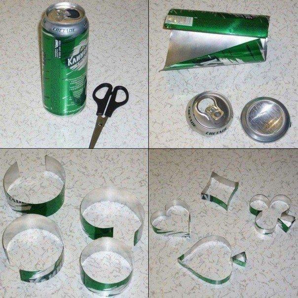 Как сделать фигурные формочки для печенья из жестяной банки 5
