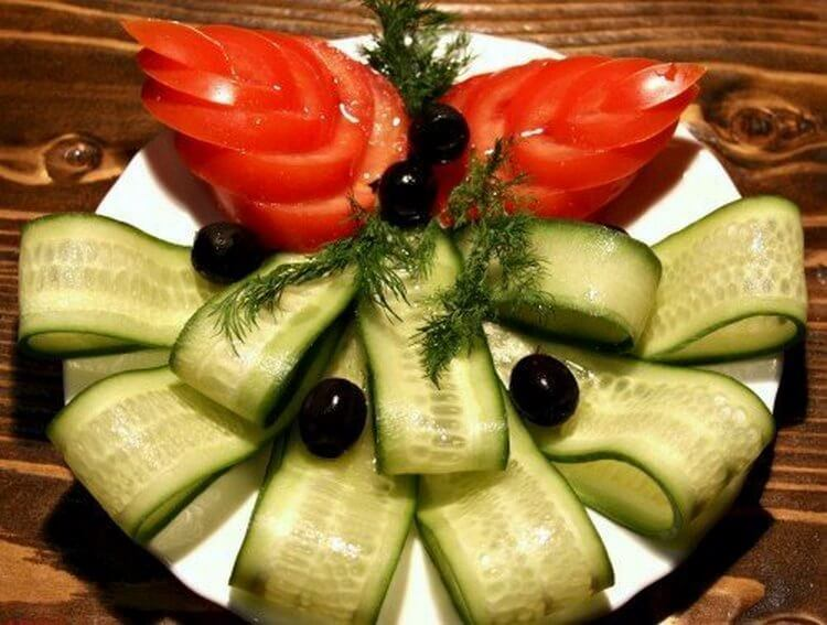 Много способов простого и красивого оформления овощной нарезки 2