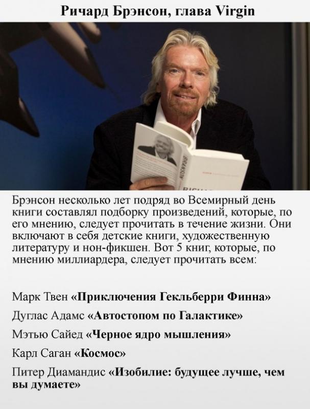 Какие книги являются любимыми у 6 миллиардеров и какие они советуют читать всем 3