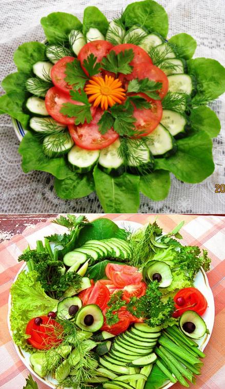 Много способов простого и красивого оформления овощной нарезки 10