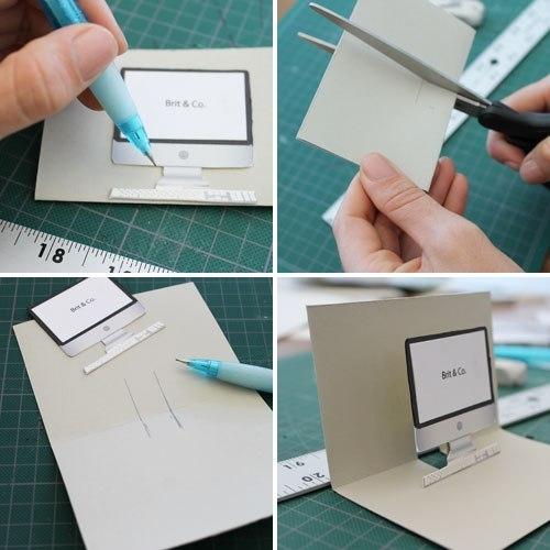 День рождения, сделать открытку с компьютером