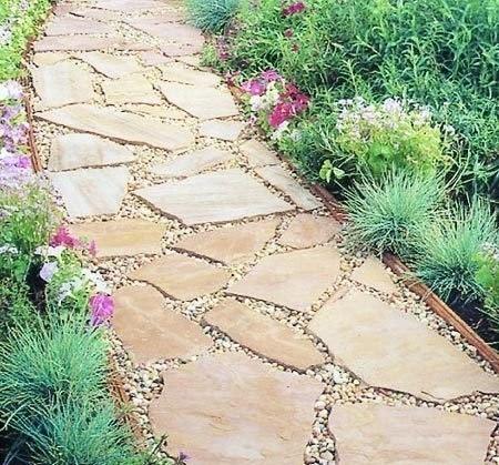 Садовая дорожка из каменных плит 0