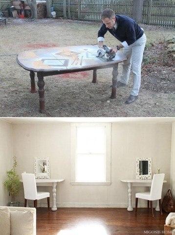Из симпатичного старого стола, можно сделать два консольных столика. 0