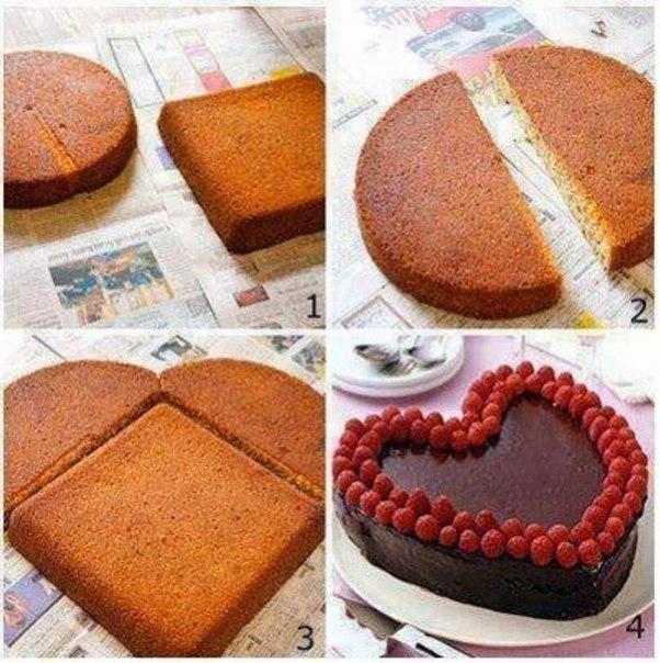 Как легко сделать торт в виде сердца.  0