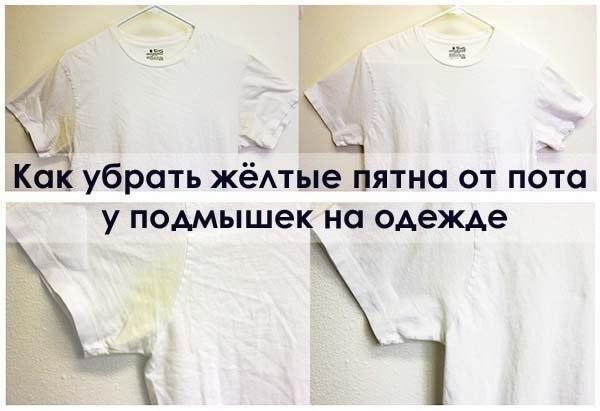 Как удалить желтые пятна от пота футболки фото