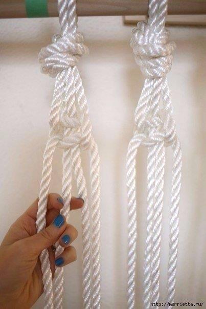Занавеска из веревки в технике макраме. 3