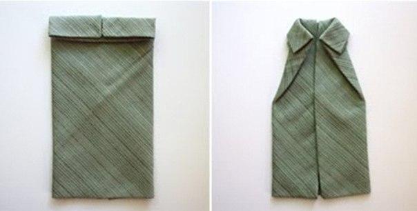 Как красиво сложить салфетку в виде рубашки 1