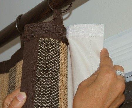 Идея: как повесить две шторы с помощью липкой ленты  (ленты велкро) 0